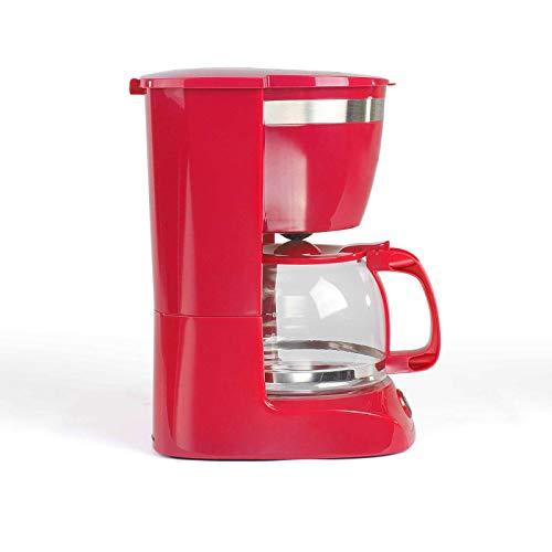 Kaffeemaschine Rot mit Glaskanne für 12 Tassen Warmhaltefunktion (Kaffeeautomat, Kaffeelöffel, Automatische Abschaltung, Wasserstandsanzeige)