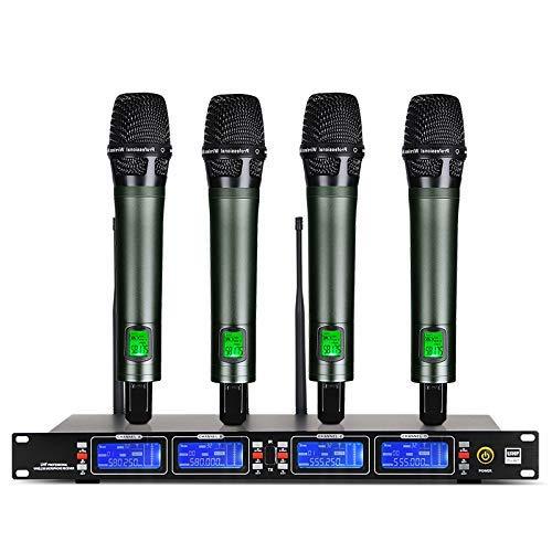 Depusheng Sistema microfonico wireless UHF Trasmettitori portatili interamente in metallo 4 Eccellente per karaoke da palco