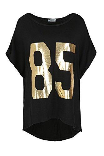 Be Jealous 85 Aufdruck Fledermausärmel Übergröße Schulterfrei Damen Schlabber Lagenlook Top 85 Schwarz Gold