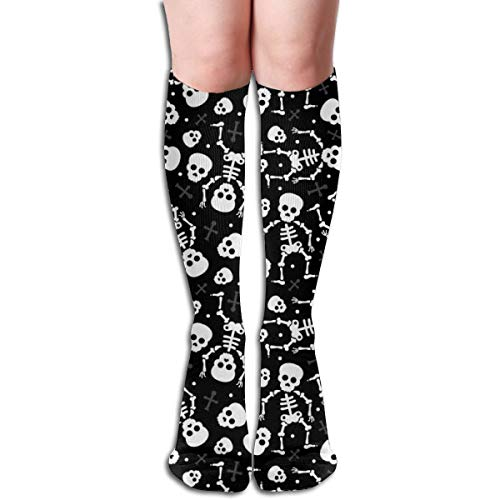 Women's Fancy Design Stocking Cool Skulls Halloween Skeleton And Mexican Dia De Muerte Kids Print Black And White Multi Colorful Patterned Knee High Socks 19.6Inchs