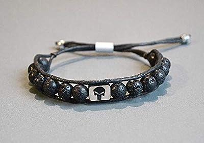 Wrap Bracelet Perles Lave Punisher