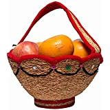 QZON - Herbal, Organic, Vettriver Root Compact Basket For Kitchen, Vegetables, Fruits, Flowers, Temple, Pooja Hall, Garden, Dine In Table Etc