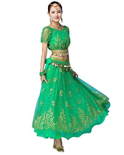 Grouptap Bollywood grün indische Frauen Damen Phantasie Anarkali Salwar Kameez Kleid arabische Prinzessin Bauchtanz Rock Outfits Kostüm (Grün, 150-170 cm, 45-70 kg)