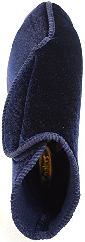 Ortopediche da donna con chiusura in Velcro, EEE Wide Fit Shoes-Pantofole/Slippers Blu (Blu)