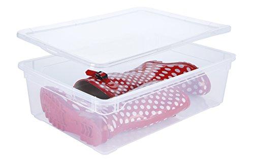 Sundis  Clear Box Boots Aufbewahrungsbox mit Deckel, Kunststoff (PP), transparent, 22 Liter (55 x 37,5 x 16 cm)