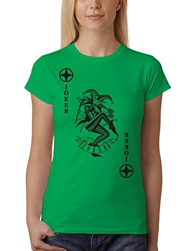 clothinx Damen T-Shirt Unisex Karneval & Fasching Spielkarte Joker Kostüm Grün/Schwarz Größe S