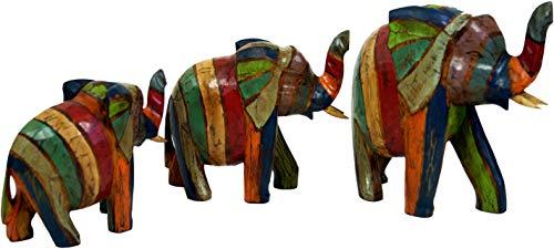 Guru-Shop Elefante con Figura de Madera en 3 Tamaños - Rayas de...