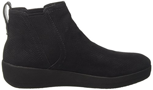FitFlop Damen Superchelsea Boot Chelsea, Schwarz Black (Black Snake-Embossed)