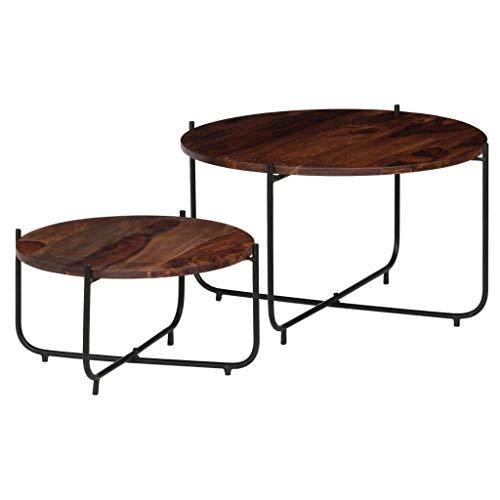 Festnight- Lots de 2 Table Basse Style Industriel Bois de Massif pour Salon/Balcon 60 x 35 cm