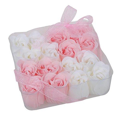 Sapone profumato per il bagno,petali di rosa bianchi e rosa,16 pezzi
