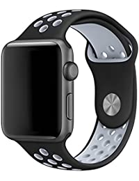 LEEHUR Apple Watch Armband 42mm, Serie 1/2/3 Sport Armbanduhr Silikonarmband Ersatzarmband Armband für Apple iWatch / Apple Uhr Nike + (42mm, Gray & Schwarz)