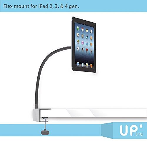 Exelium UP510 Set für iPad 2/3/4: Tischhalterung, Wandhalterung und Standfuß, Schwanenhals, frei beweglich, mit Schutzhülle, weiß