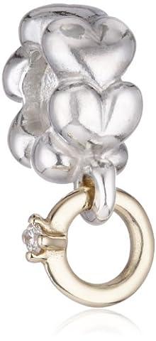 Pandora Damen-Bead Herzen goldener Ring mit Diamant 14 K Gold 002ct 925 Sterling Silber 790999D
