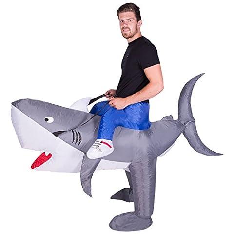 Aufblasbares Hai-Weißer-Kostüm für Erwachsene (Halloween Aufblasbare Kostüme)