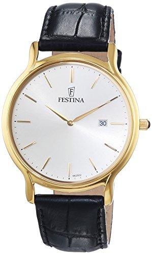 Festina Herren-Armbanduhr XL Klassik Analog Quarz Leder F6829/2