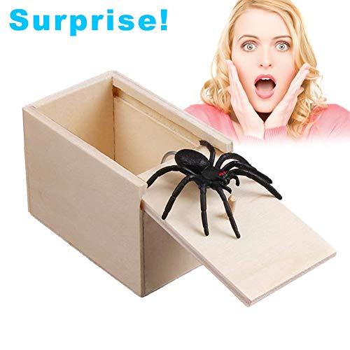 Luoonlinez spider scare box,1pezzi in legno prank scare box di scherzo realistica divertente sorpresa gag giocattolo