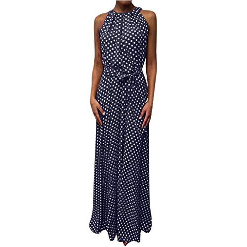 Wawer Damen Rock  Frauen-beiläufiger Sommer-Punkt druckte ärmelloses Strand-Kleid-Sommerkleid, Dame Öffnen Sexy Kleid