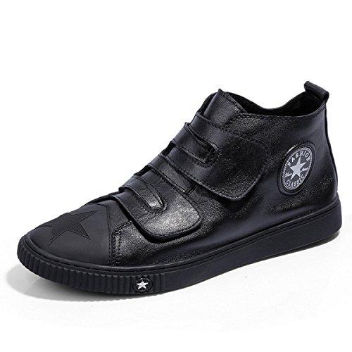 Grrong Primavera Y Otoño Cargar Los Zapatos Casuales Negro