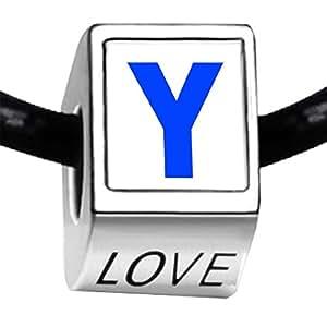 Argent Plaqué photo Lettre Y Bleu Love perle Charm Bracelets bracelets européenne
