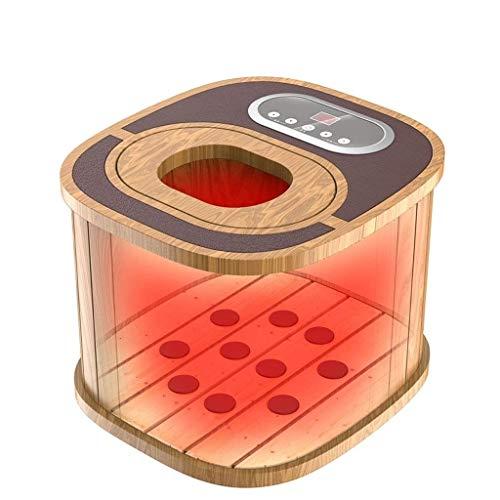 ZOUQILAI Hölzerner Fußbecken-Wannen-Eimer für das dampfende Infrarotfuß-Tränken und die Badekurort-Massage Intelligente konstante Temperatur, Multi-Geschwindigkeit justierbar