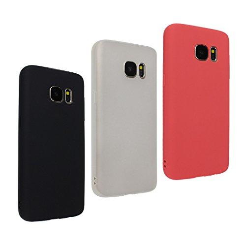 Galaxy S7 Hülle Dünn Silikon, 3 Pack Handy Schutzhülle für Samsung Galaxy S7 Hülle TPU Silikon Backcover Case Handytasche Einfarbig Telefon-Kasten Tasche Schutz Cover Design Schwarz/Transparent/Rot (Telefon-kasten-galaxie-3)