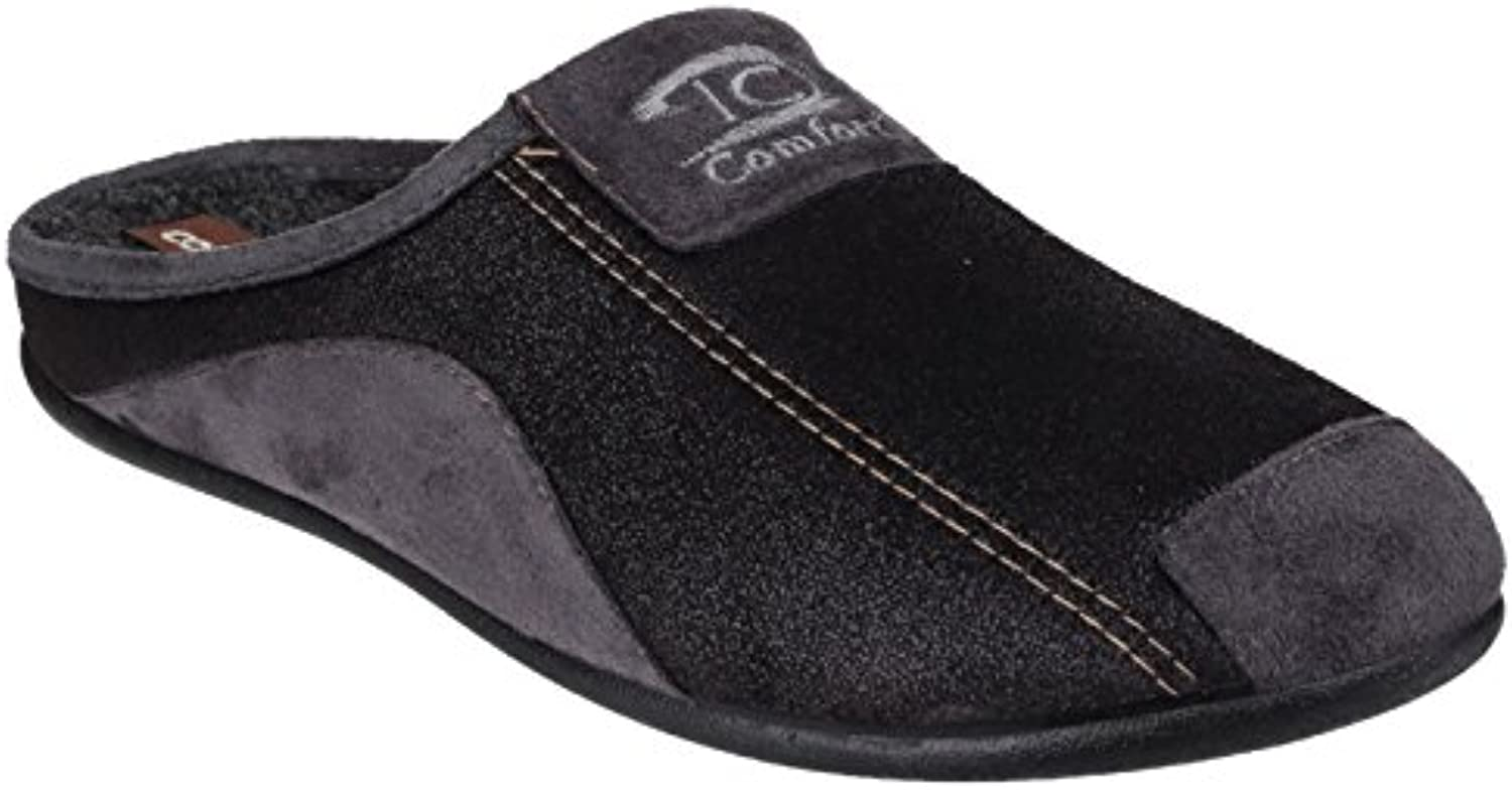 Cotswold Mens Westwell Textile Faux Suede Slip on Mule Slippers