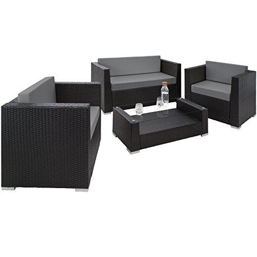 TecTake® Hochwertige Aluminium Luxus Lounge Poly-Rattan Sitzgruppe Sofa Rattanmöbel Gartenmöbel schwarz mit 2 Bezugsets und 4 extra Kissen mit Edelstahlschrauben - 3