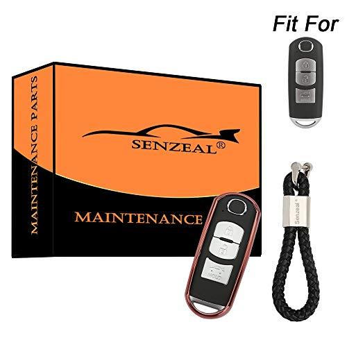 SENZEAL TPU Autoschlüssel Hülle mit geflochtenen Schlüsselringen Schlüsselschutz für Mazda 2/3/5/6/CX-3/CX-5/CX-7/CX-9/MX-5 Miata Rose -