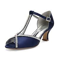 LIANYUNNEIYI Rhinestone Diamond Chain Lady Satin Evening Dress Shoes Peep Open Toe Bridal Wedding Prom Party Thick Lower Heels,Dark blue,38