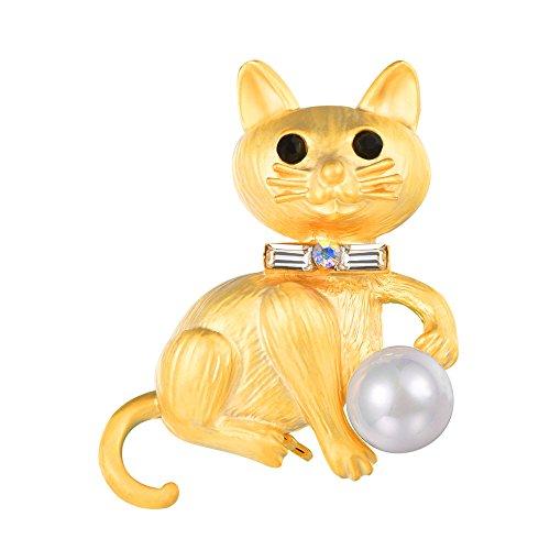 FOCALOOK Damen Elegant Brosche 18k vergolde Katze mit Perle Brosche Pin Süße Tieren Anstecknadel für Hochzeit Party Bürodame Office Lady