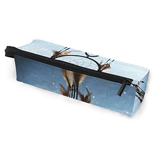 BENNIGIRY hermoso atrapasueños azul portátil anteojos estuche bolsa suave con cremallera gafas de sol, estuche de almacenamiento personalizado para lápices, cosméticos para mujeres y niñas