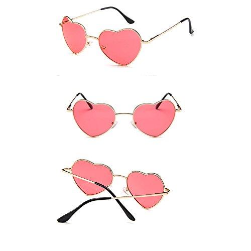 Lanbinxiang@@ Für Frauen Herz Sonnenbrille Dünne Metallrahmen Schöne Aviator Style klar (Color : Pink)
