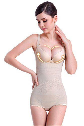 KOOYOL Damen Shapewear Body Shaping Bodysuit Miederslip Postnatal Erholung Bauch Weg Taillenformer Figurformender Beige