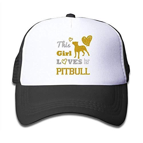 Cutakuzvmru Kids This Girl Loves Her Pitbull Mesh Cap Trucker Hats Baseball Cap