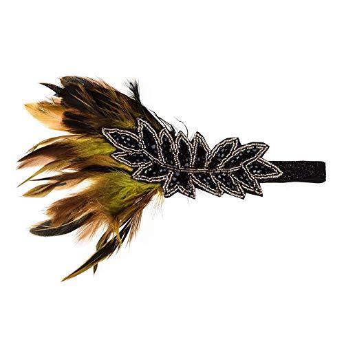 n 1920 \u0026 rsquo; s Vintage Kopfschmuck Feder Blatt Perlen Flapper Great Gatsby Stirnband Braut für Party Prom Hochzeit Schmuck Accessoires Haarschmuck (Farbe: Kaffee) ()