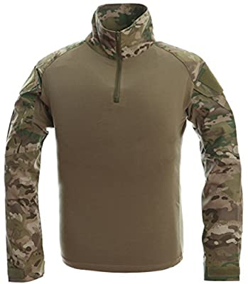 TACVASEN Armee Herren Militär Hemd Lange Ärmel Tarnung Camo T-shirts