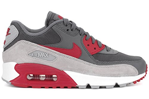 Nike Womens Air Max 90 Essential Mesh Trainers Grey Red