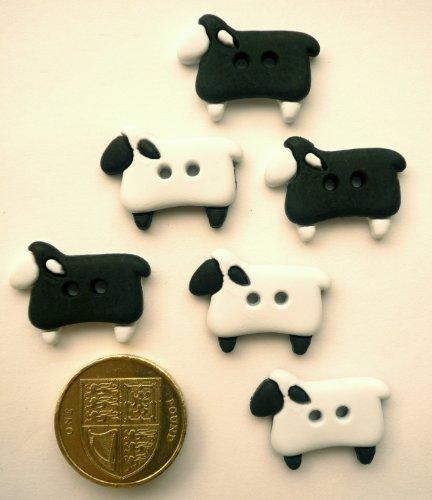 Jesse James Buttons (Black & White Sheep - Novelty Craft Buttons & Embellishments by Dress It Up by Jesse James)