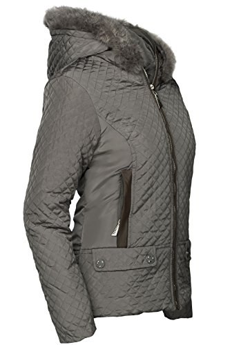 DAMEN WARME WINTER JACKE GEFÜTTERT FELL KAPUZE STEPP PELZ MANTEL KURZ Grau