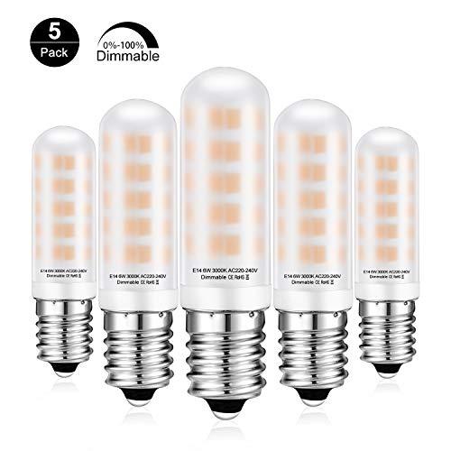 E14 LED Dimmbar Lampe 6W LED Leuchtmittel Ersatz 60W Halogenlampe E14 Sockel Glühlampe 520lm Warmweiß Birne 360° Abstrahlwinkel, Kein Flackern, AC 220-240V, 5er Pack