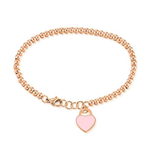 AnazoZ Schmuck Edelstahl Armband Für Damen Liebe Ball Rosa Rose Gold Kette ()