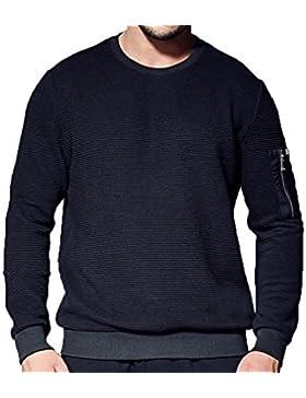 Otoño Y El Invierno Suéter Hombres Calientes Suéter De Gran Tamaño De Manga Larga De Manga Larga Cuello Redondo...