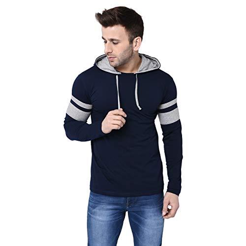 BI FASHION Men's Cotton Round Neck Hooded Full Sleeves Stripe T-shirt (Navy Blue, Small)