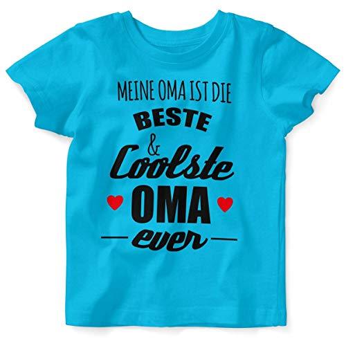 Mikalino Baby/Kinder T-Shirt mit Spruch für Jungen Mädchen Unisex Kurzarm Meine Oma ist die Beste und coolste Oma | handbedruckt in Deutschland | Handmade with Love, Farbe:Atoll, Grösse:92/98