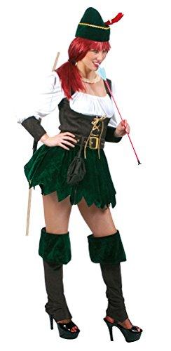 Karneval-Klamotten Robin Hood Kostüm Damen sexy kurz 5-TLG. Damen-Kostüm grün-braun-weiß inkl. Hut Größe 44/46