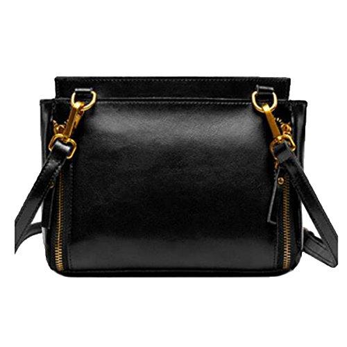 Preisvergleich Produktbild Damen Aus Echtem Leder Reißverschluss Hobo Schultertasche Handtasche Casual Daypack,Black-M