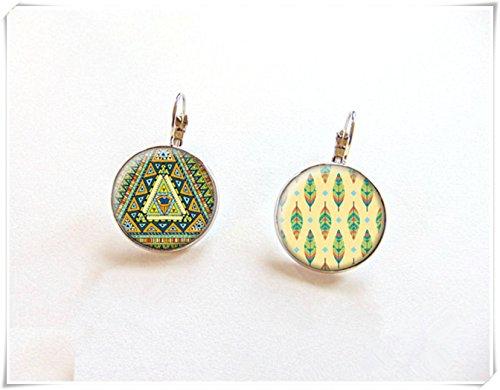 Pendientes de tuerca, diseño de boho, bohemio, mandala, pendientes étnicos, adornos de cristal cúpula puro hecho a mano