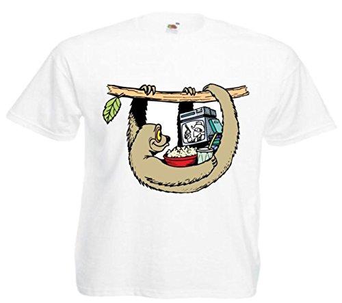 Motiv Fun T-Shirt Faulheitsbeobachtungs TV( Fernseher) Cartoon Spass Film Cartoon Weiß