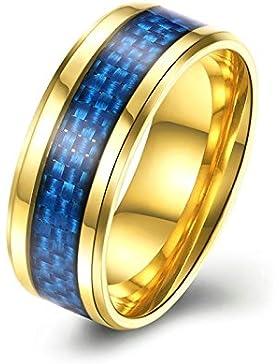 AMDXD Schmuck Edelstahl Herren Ring Breit 8MM Gold Kohlefaser Ring Herren