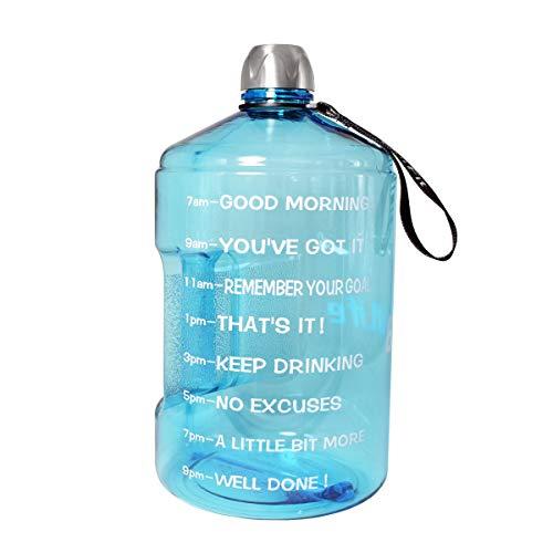 QuiFit 1 Gallon Fitness-Wasserflasche 1.3/3.78 Liter BPA Frei Wiederverwendbare Sport-Wasserflasche großes Fassungsvermögen, mit Griff, für Fitnessstudio, Reise, Sport (3.78L light blue, 3.78L small mouth)